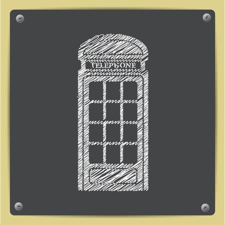 phonebox: Vector sketch telephone box icon on school blackboard