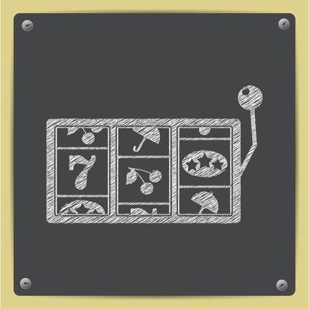 Vector chalk drawn sketch slot icon on school blackboard