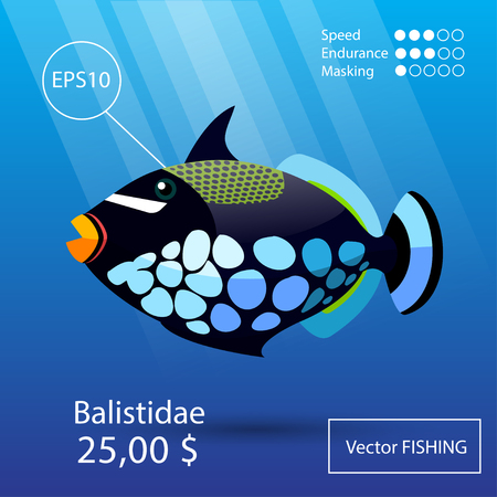 clown triggerfish: Vector flat tropical reef fish icon.