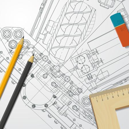 alumnos estudiando: Vector blueprint t�cnica de mecanismo. Ingeniero ilustraci�n