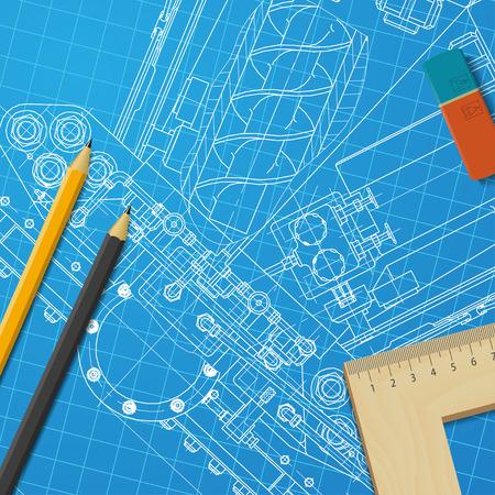 lijntekening: Vector technische blauwdruk van het mechanisme. Ingenieur illustratie Stock Illustratie