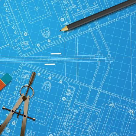 blueprint: Vector technical blueprint of  mechanism. Engineer illustration