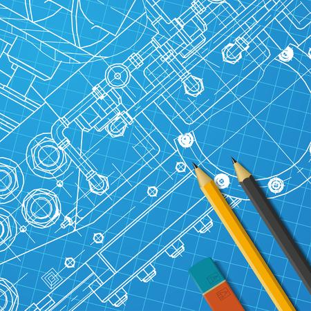 designer: Vector technical blueprint of  mechanism. Engineer illustration