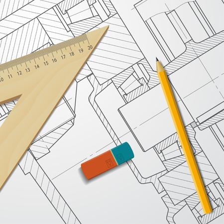 maquinaria pesada: Vector anteproyecto técnico de maquinaria pesada. Ingeniero ilustración