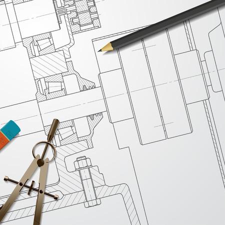 blueprint: Vector technical blueprint of heavy machinery. Engineer illustration