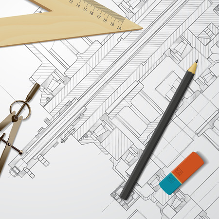 Vector technical blueprint of heavy machinery. Engineer illustration