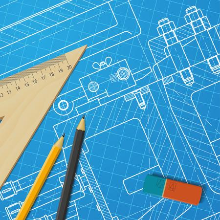 maquinaria pesada: Vector technical blueprint of heavy machinery. Engineer illustration