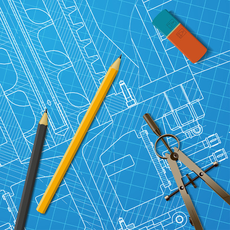 heavy machinery: Vector technical blueprint of heavy machinery. Engineer illustration