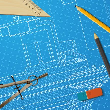 maquinaria pesada: Vector anteproyecto t�cnico de maquinaria pesada. Ingeniero ilustraci�n