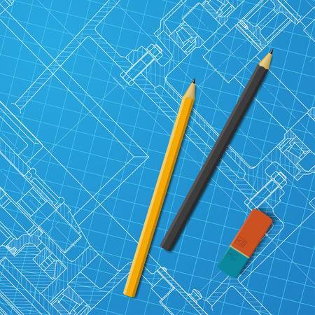 maquinaria pesada: Vector technical blueprint of heavy machinery. Engineer illustration