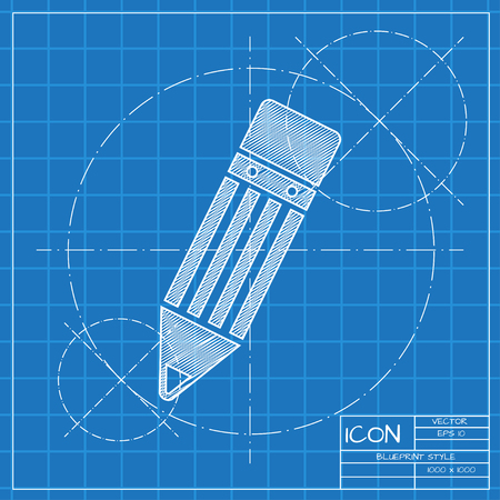 sharpen: Vector blueprint pencil icon . Engineer and architect background.