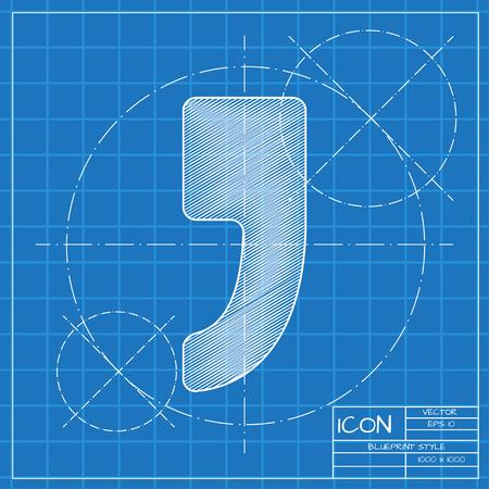 comma: Vector flat comma icon isolated on dark. Eps10 Illustration