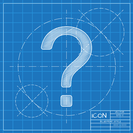 Vector blueprint flat question mark icon . Engineer and architect background.