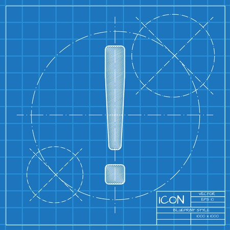 exclaim: Vector blueprint flat exclamation mark icon. Engineer and architect background.