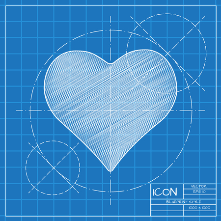 Vector blueprint isolate game heart icon. Engineer and architect background.