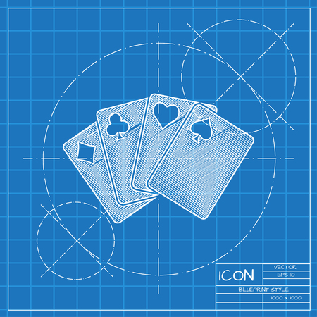 black jack: Vector blueprint isolate game cards icon. Engineer and architect background. Illustration