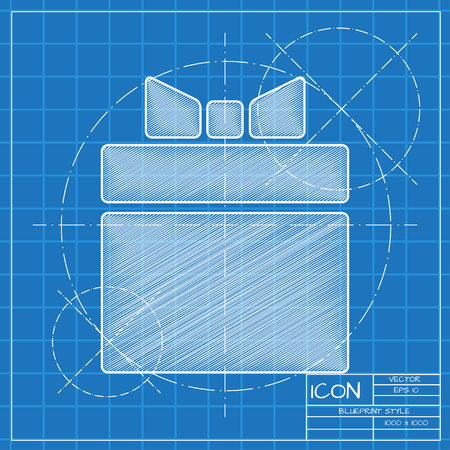 Vector blueprint gift box icon . Engineer and architect background. Illustration