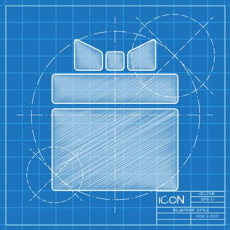 Vector blauwdruk geschenkdoos icoon. Ingenieur en architect achtergrond. Stock Illustratie