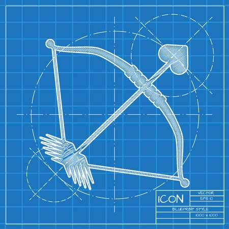 amour: Vector blueprint amour arrow icon . Engineer and architect background. Illustration