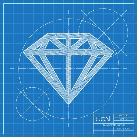 blueprint: Vector blueprint diamond icon . Engineer and architect background.