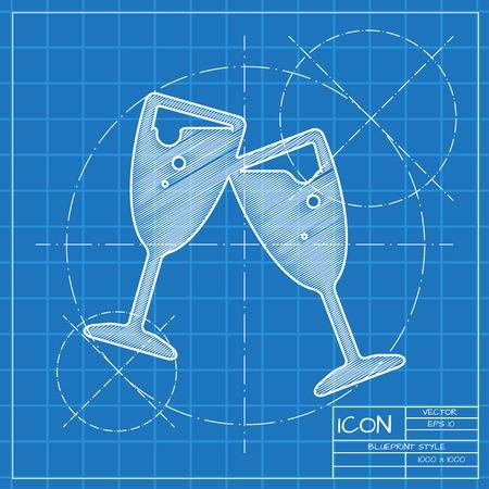 stemware: Vector blueprint stemware icon . Engineer and architect background.