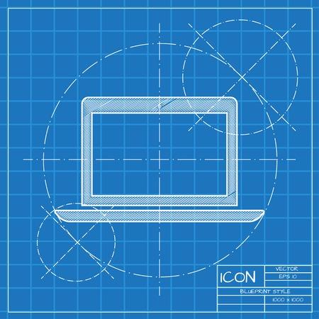 blueprint: Vector blueprint laptop icon . Engineer and architect background. Illustration