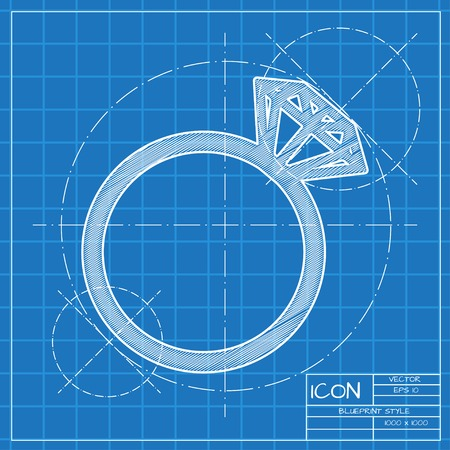 diamond rings: Vector blueprint wedding ring icon. Engineer and architect background.