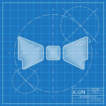 bowtie: Vector blueprint bow-tie icon . Engineer and architect background. Illustration