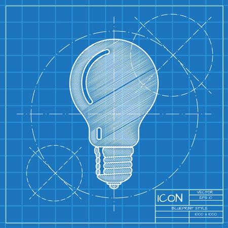 lightbulb idea: Vector blueprint lightbulb icon . Engineer and architect background.