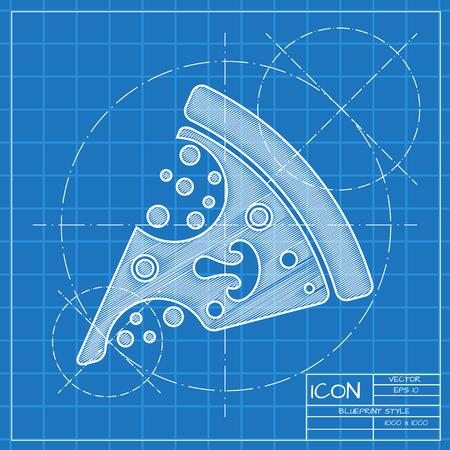 blueprint: Vector blueprint pizza icon. Engineer and architect background. Illustration