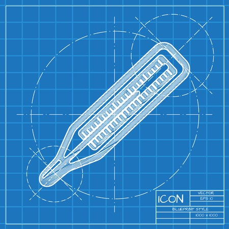 blueprint: Vector blueprint thermometer icon . Engineer and architect background. Illustration