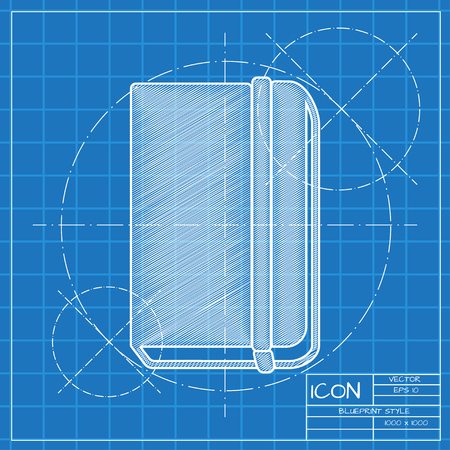 periodicals: Vector blueprint book icon . Engineer and architect background.