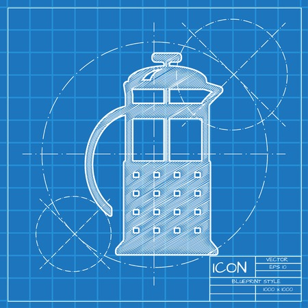 steel mill: Vector blueprint franch press icon . Engineer and architect background.