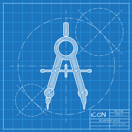web designer: Vector blueprint compasses icon . Engineer and architect background.