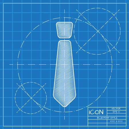 to tie: Vector blueprint tie icon . Engineer and architect background.