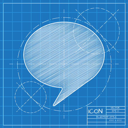 Vector blueprint callout icon . Engineer and architect background.