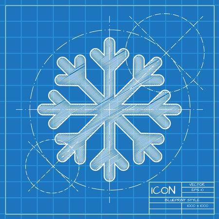 blueprint: Vector blueprint snowflake icon . Engineer and architect background.