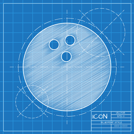 skittle: Vector blueprint skittle icon . Engineer and architect background.