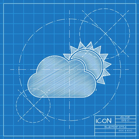 cloudiness: Vector blueprint cloudiness icon . Engineer and architect background.
