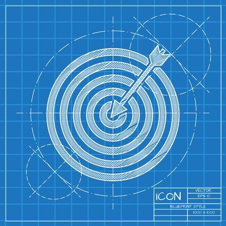 Vector blauwdruk doel met dart icoon. Ingenieur en architect achtergrond.