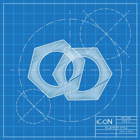 industrial design: Vector blueprint nut icon . Engineer and architect background.