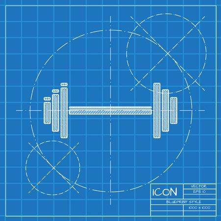 blueprint: Vector blueprint dumbbell icon . Engineer and architect background. Illustration