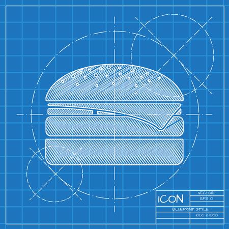 Vector blueprint burger icon . Engineer and architect background. Illustration