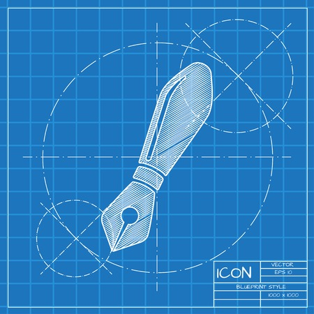 classic authors: Vector blueprint fountain pen icon . Engineer and architect background. Illustration