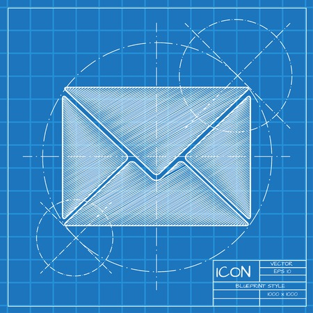 paper: Vector blueprint mail icon . Engineer and architect background.