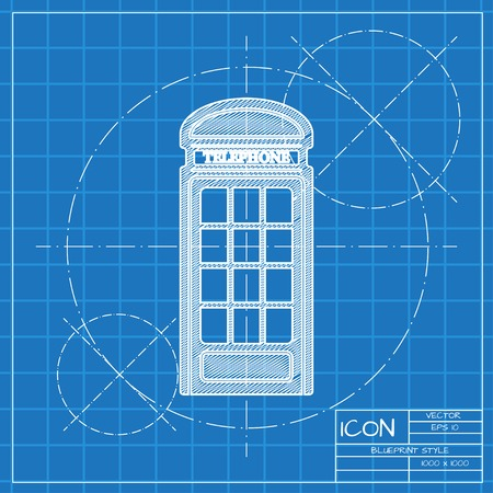 stereotypes: Vector blueprint telephone box icon . Engineer and architect background.