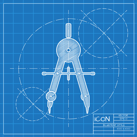 architect: Vector blueprint compasses icon . Engineer and architect background.