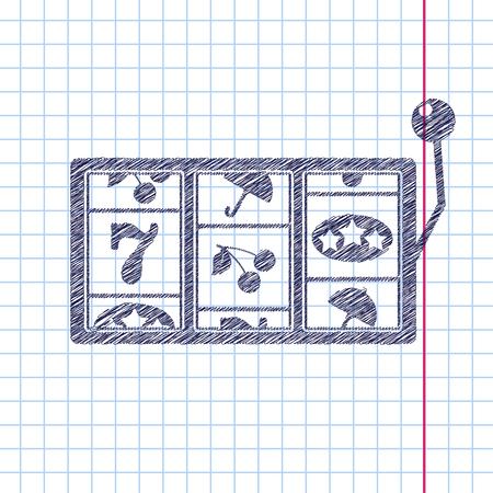 lever arm: Vector flaten slot icon. Casino icon.  Illustration
