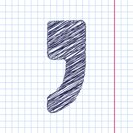 comma: Vector comma icon isolated on copybook. Eps10 Illustration