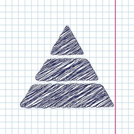 picto: Vector pyramid icon isolated on copybook background. Eps10